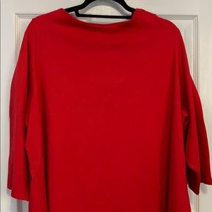 Lands End 3X Scoopneck Red Blouse